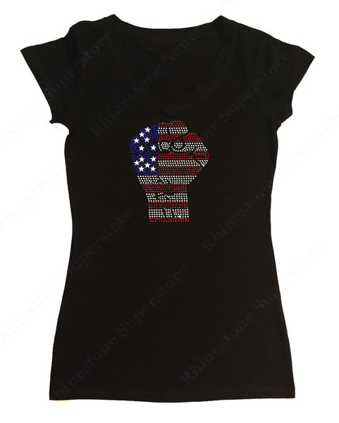 Womens T-shirt with 4th of July Fist in Rhinestones