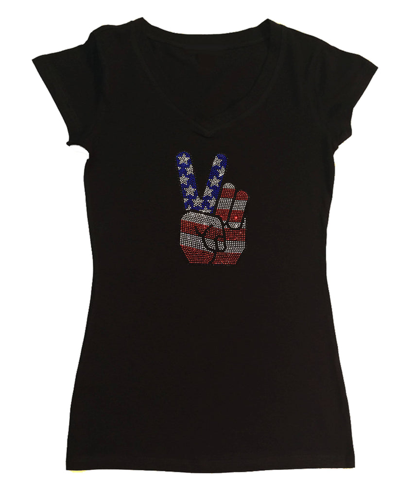 Womens T-shirt with 4th of July Hand Peace Sign in Rhinestones