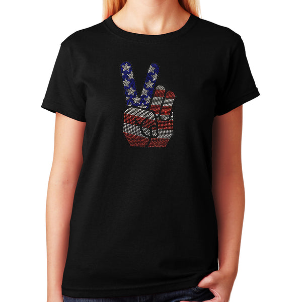 Women's / Unisex T-Shirt with 4th of July Hand Peace Sign in Rhinestones