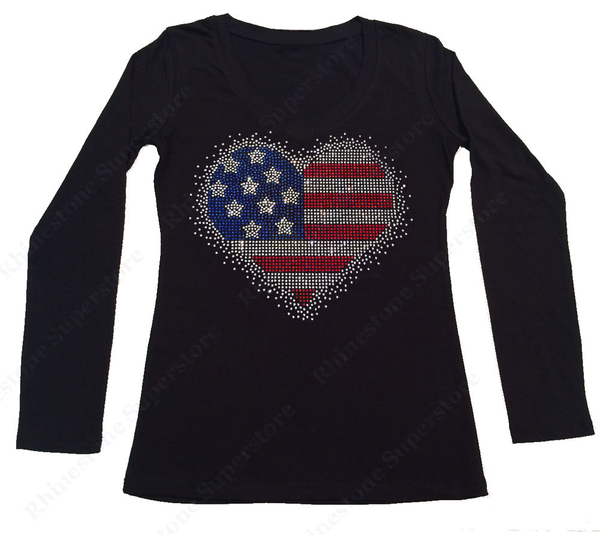 Womens T-shirt with Splash 4th of July Heart in Rhinestones