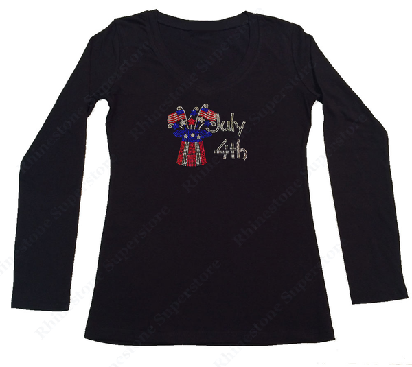 Womens T-shirt with 4th of July Top Hat in Rhinestones