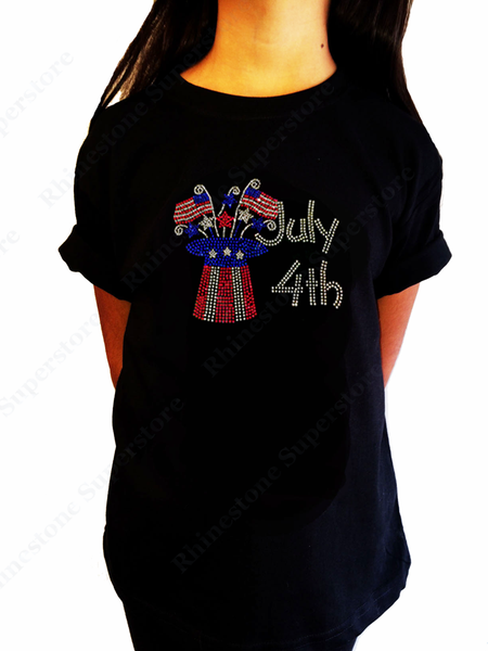 "Girls Rhinestone T-Shirt "" 4th of July Top Hat "" Kids Size 3 to 14 Available"