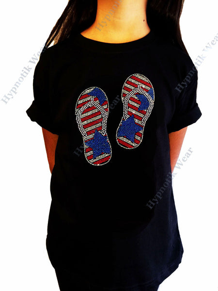 "Girls Rhinestone T-Shirt "" Patriotic Sandals "" Vacation, 4th of July, Kids Size 3 to 14"