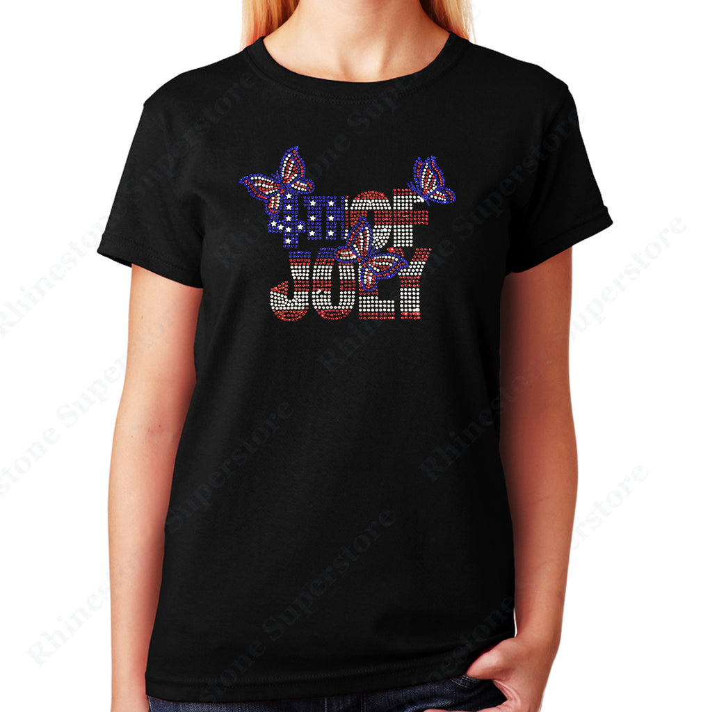 4th of July with Butterflies in Rhinestones Unisex