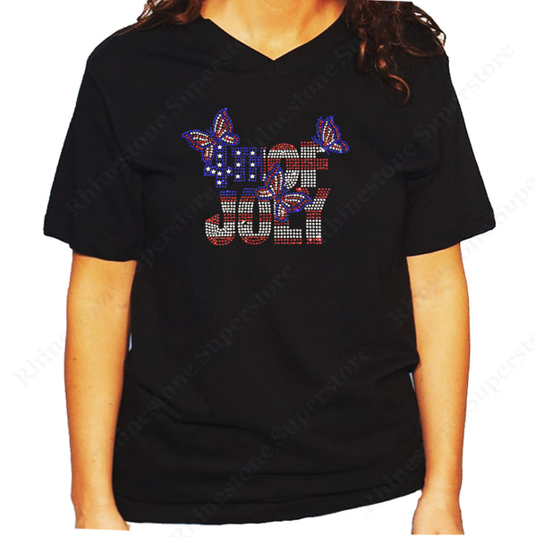 Women's / Unisex T-Shirt with 4th of July with Butterflies in Rhinestones