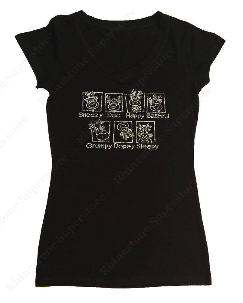 Womens T-shirt with 7 Reindeer in Rhinestones