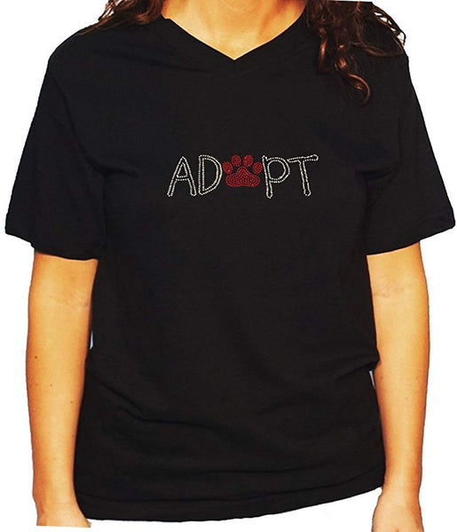 Women's / Unisex T-Shirt with Adopt with Paw in Rhinestones