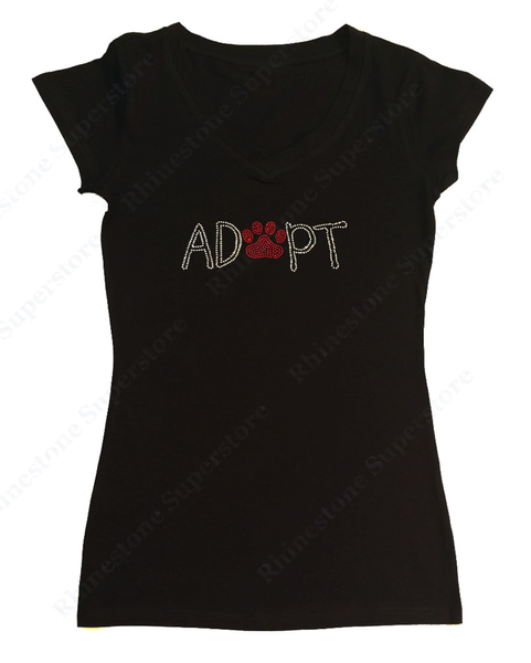 Womens T-shirt with Adopt with Red Paw in Rhinestones