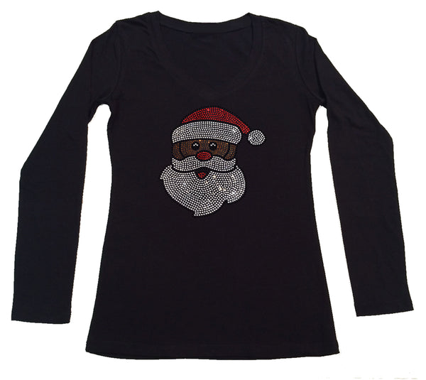 Womens T-shirt with African American Santa Claus in Rhinestones