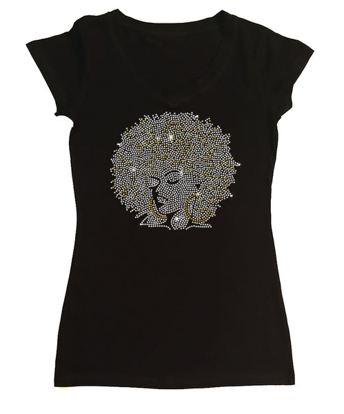 Womens T-shirt with Afro Girl With Gold Hoops in Rhinestones