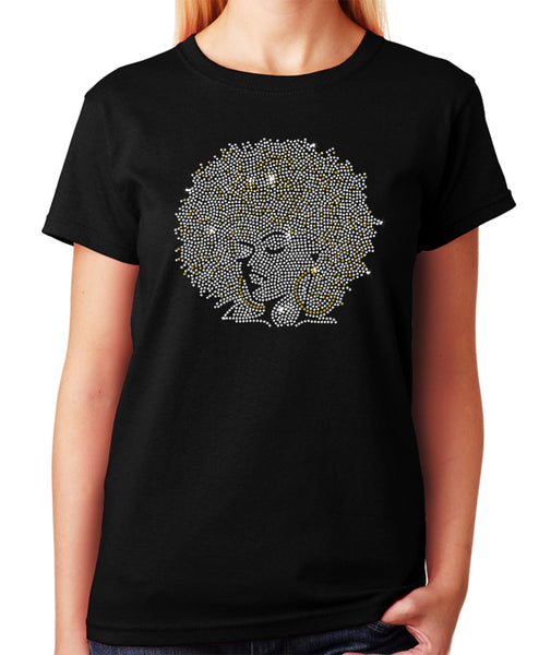 Women's / Unisex T-Shirt with Afro Girl With Gold Hoops in Rhinestones