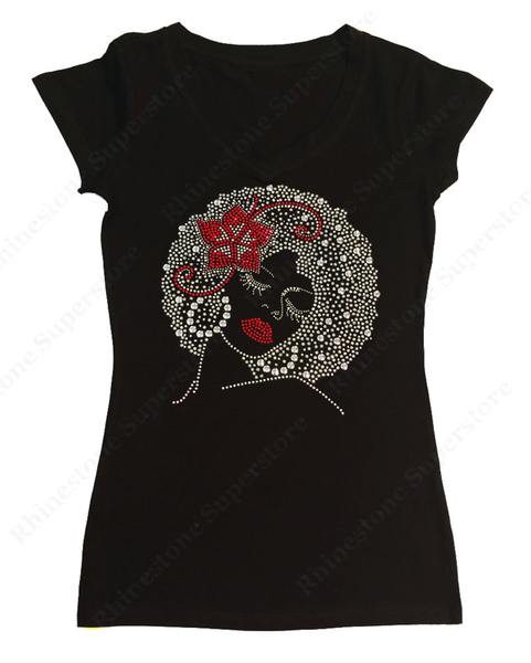 Womens T-shirt with Afro Girl with Flower in Hair in Rhinestones