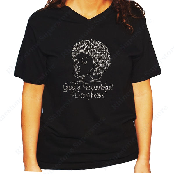 Women's / Unisex T-Shirt with Afro Girl with God's Beautiful Daughters in Rhinestones