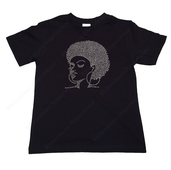 "Girls Rhinestone T-Shirt "" Afro Girl with Hoop Earrings "" Kids Size 3 to 14 Available"