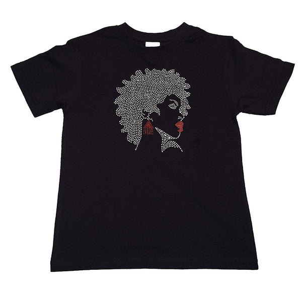 "Girls Rhinestone T-Shirt "" Afro Girl with Red Earrings and Lipstick in Rhinestones "" Kids Size 3 to 14 Available"
