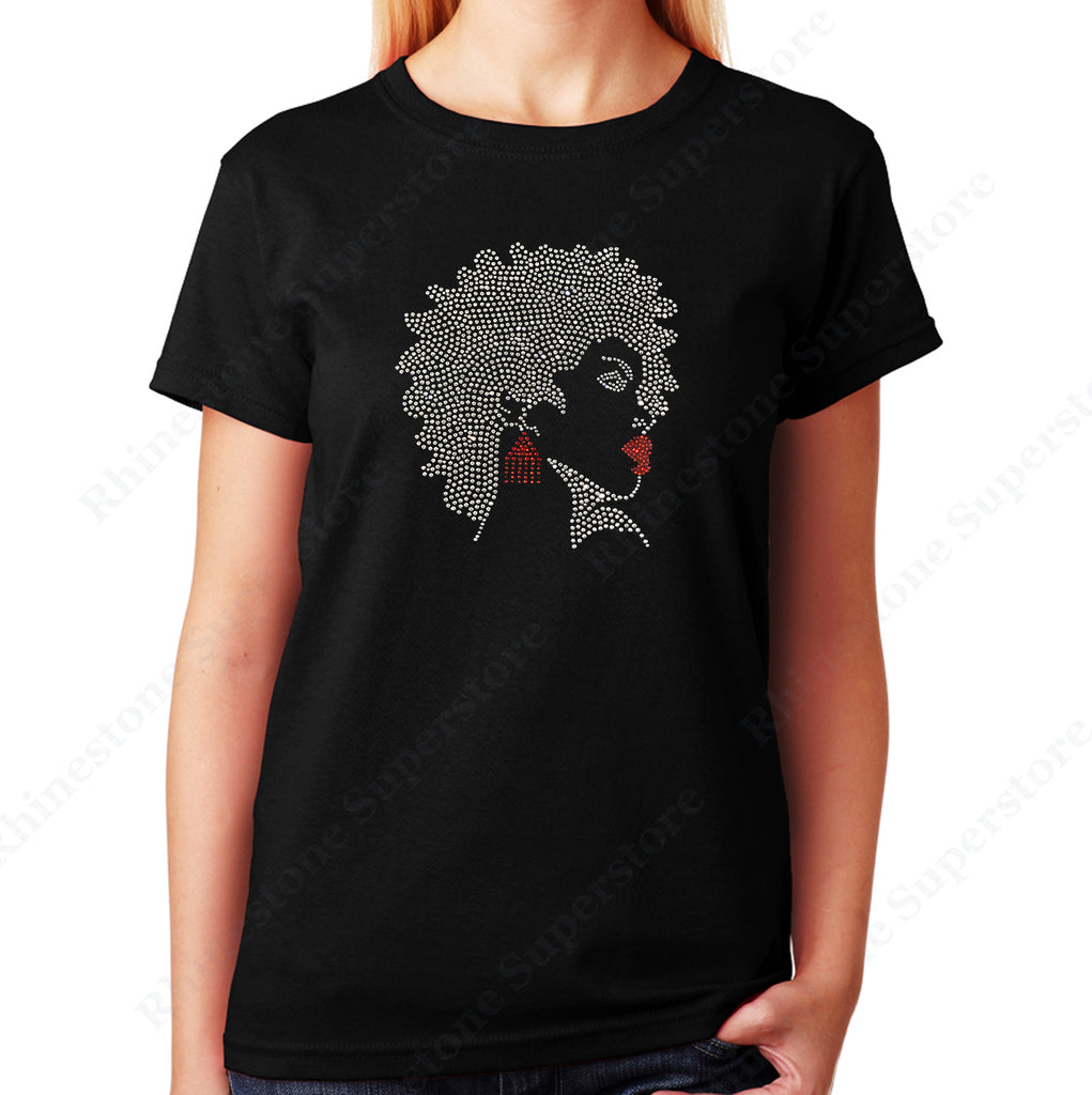 Afro Girl with Red Earrings and Lipstick in rhinestones unisex