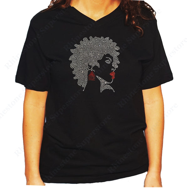 Women's / Unisex T-Shirt with Afro Girl with Red Earrings and Lipstick in Rhinestones