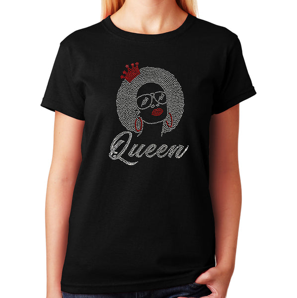 Women's / Unisex T-Shirt with Afro Queen in Rhinestones