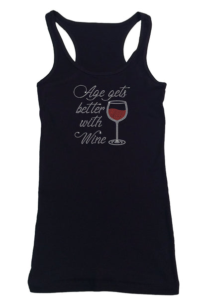 Womens T-shirt with Age gets better with Wine in Rhinestones