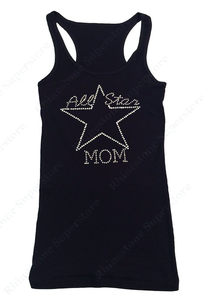 Womens T-shirt with All Star Mom in Rhinestones
