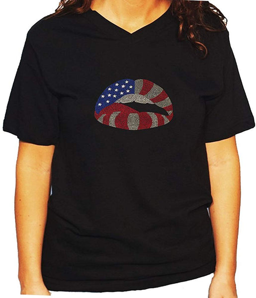 Women's / Unisex T-Shirt with American Flag Lips 4th of July in Rhinestuds