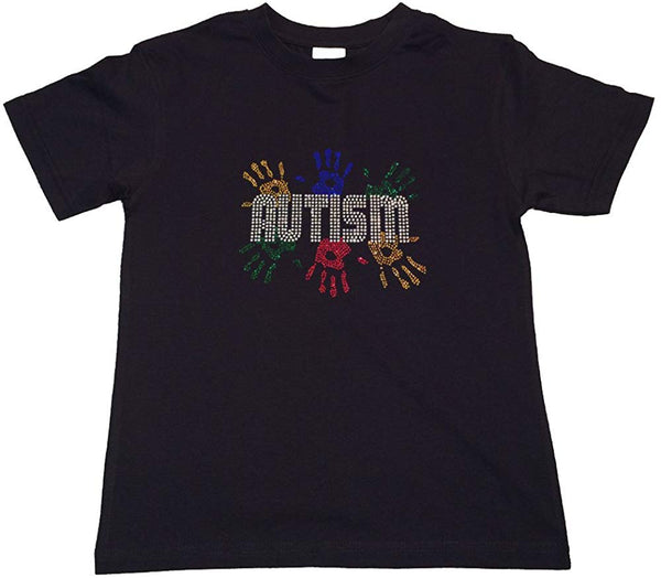 Autism Awareness with Handprint in Rhinestones