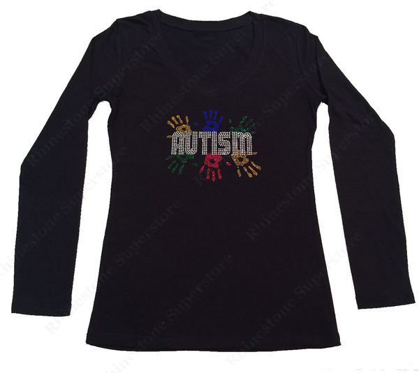 Womens T-shirt with Autism Awareness with Handprints in Rhinestones