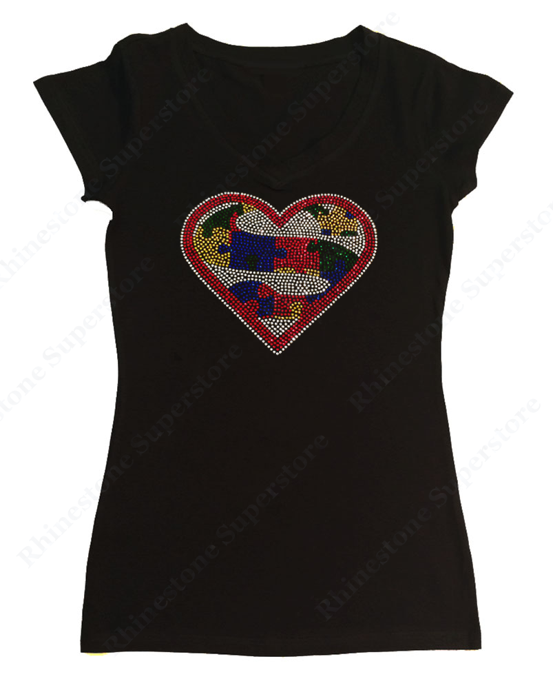 Womens T-shirt with Autism Super Heart in Rhinestones