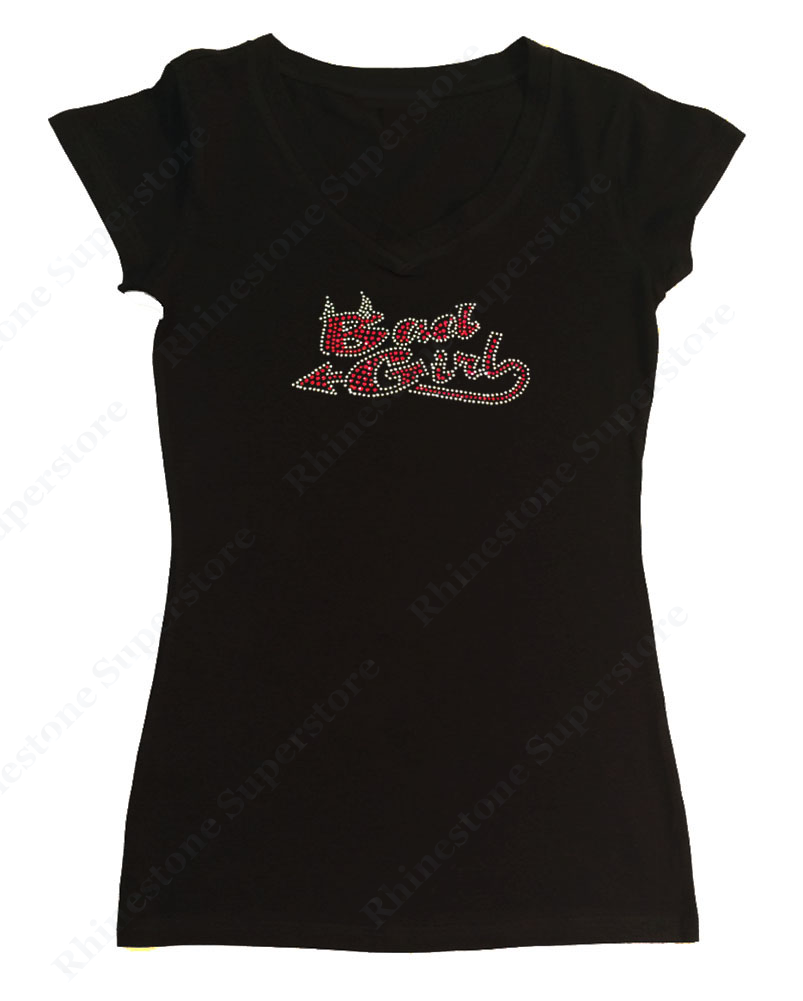 Womens T-shirt with Bad Girl in Rhinestones