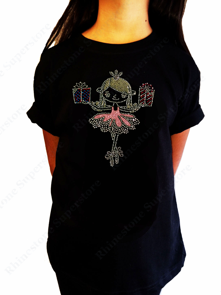 "Girls Rhinestone T-Shirt "" Ballerina Fairy with Presents "" Kids Size 3 to 14 Available"