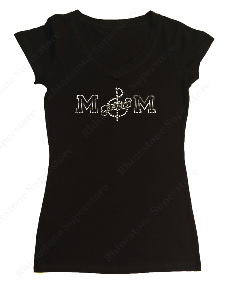 Womens T-shirt with Band Mom with Music Note in Rhinestones