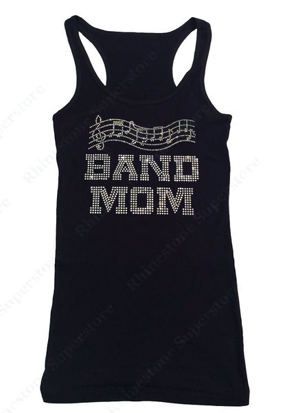Womens T-shirt with Band Mom with Music Notes in Rhinestones