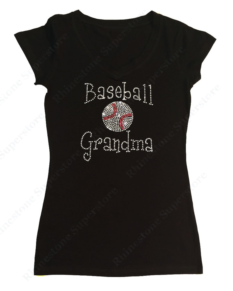 Womens T-shirt with Baseball Grandma in Single Line Font in Rhinestones