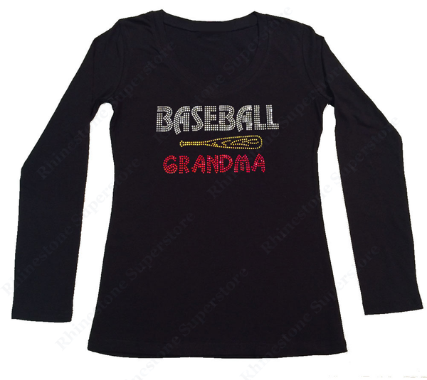 Womens T-shirt with Baseball Grandma with Bats in Rhinestones