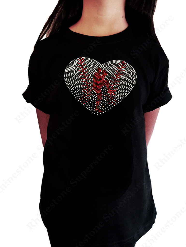 Baseball Heart with Pitcher in Rhinestones