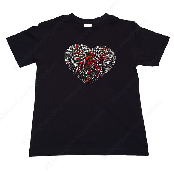 "Girls Rhinestone T-Shirt "" Baseball Heart with Pitcher in Rhinestones "" Kids Size 3 to 14 Available"