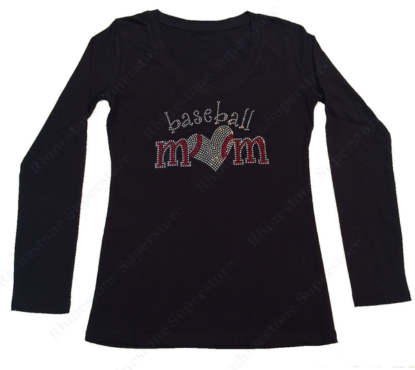 Womens T-shirt with Baseball Mom with Heart in Rhinestones