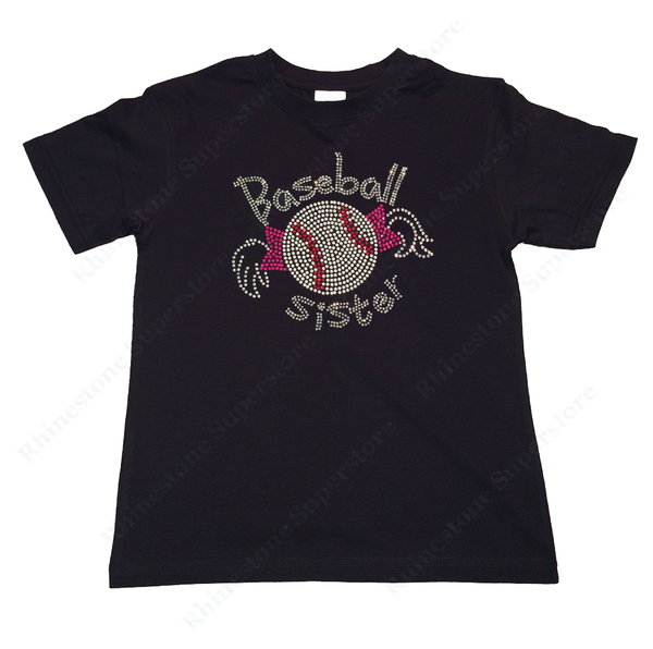 "Girls Rhinestone T-Shirt "" Baseball Sister with Pigtails "" Kids Size 3 to 14 Available"