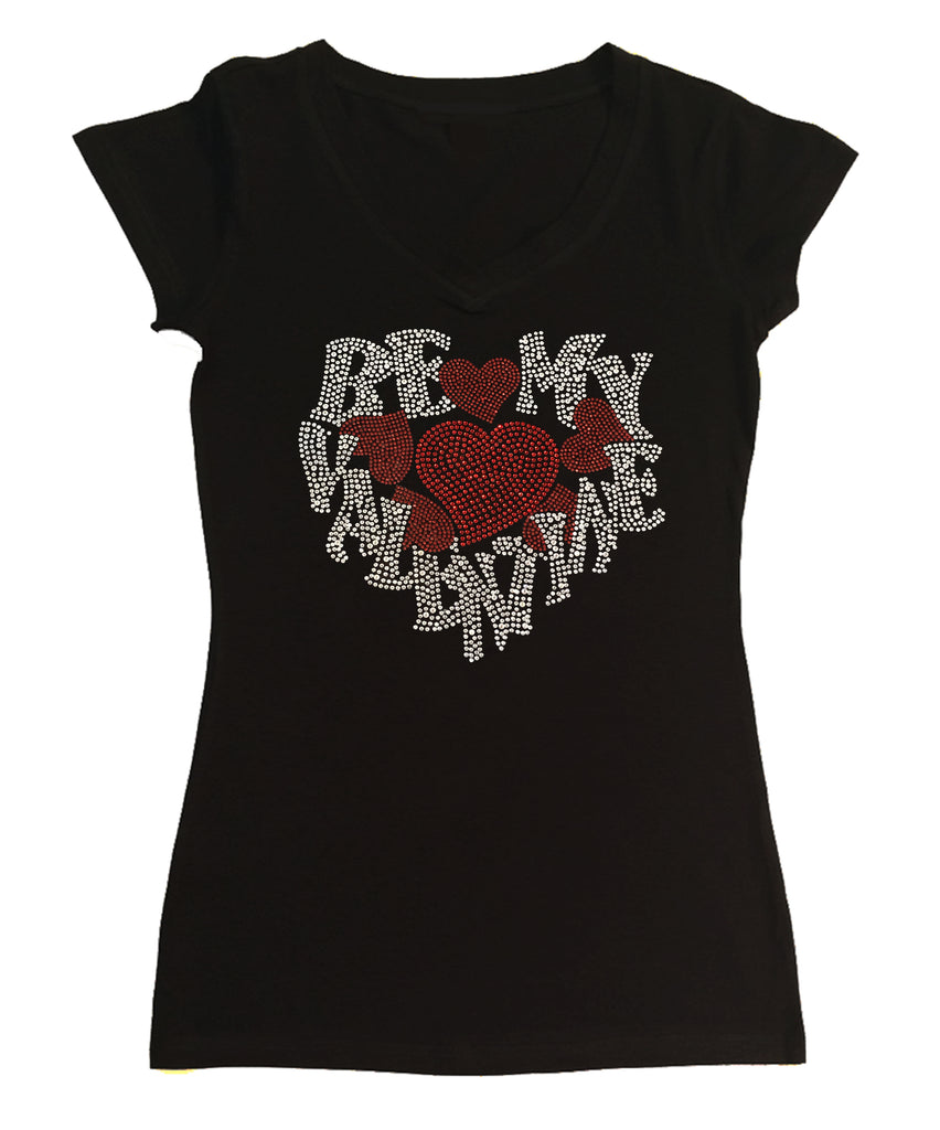 Womens T-shirt with Be My Valentine with Red Hearts in Rhinestones