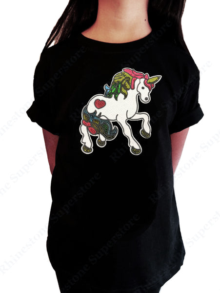 Girls Rhinestud T-Shirt Colorful Unicorn Face in Rhinestud