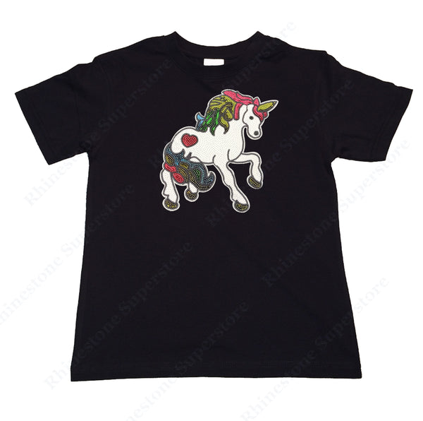 "Girls Rhinestud T-Shirt "" Colorful Unicorn Face in Rhinestud "" Kids Size 3 to 14 Available"