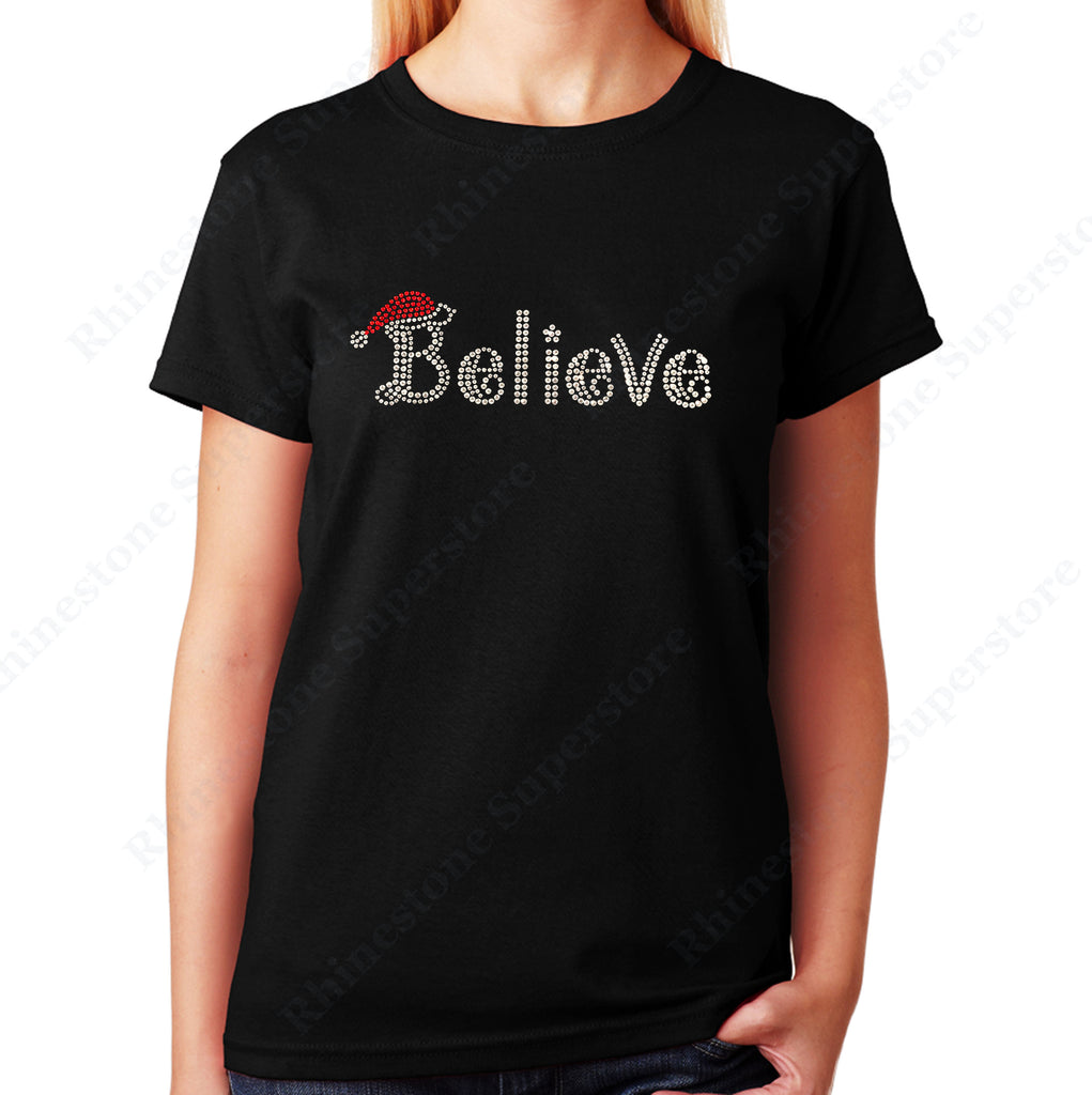 Unisex T-Shirt with Believe with Santa Hat for Christmas in Rhinestones