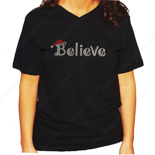 Women's / Unisex T-Shirt with Believe with Santa Hat for Christmas in Rhinestones