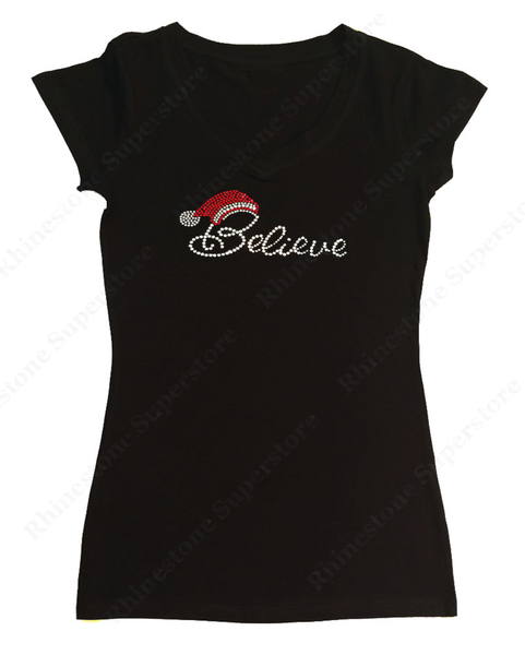 Womens T-shirt with Believe with Santa Hat in Rhinestones