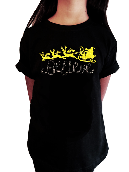 8676aa353495f Believe with Santa Sleigh in Glitters and Rhinestones Girl. Girls  Rhinestone T-Shirt