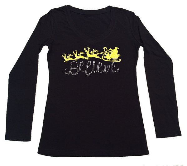 Womens T-shirt with Believe with Santa Sleigh in Glitters and Rhinestones