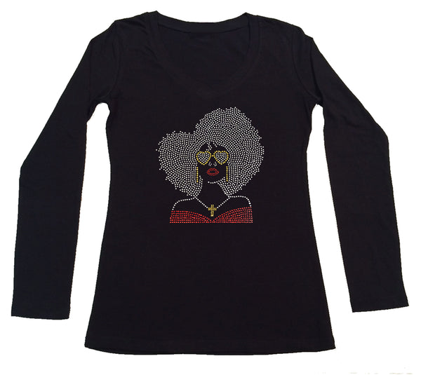 Womens T-shirt with Big Hair Girl with Glasses in Rhinestones