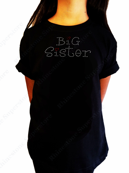 "Girls Rhinestone T-Shirt "" Big Sister with Red Heart "" Kids Size 3 to 14 Available"