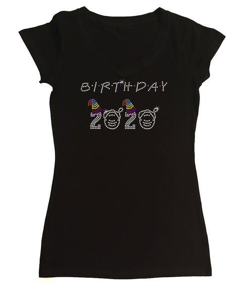 Womens T-shirt with Birthday 2020 Friends Style in Rhinestones