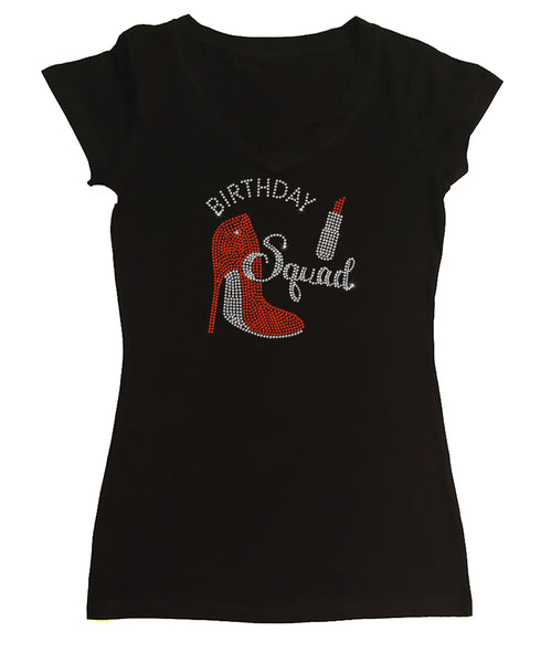 Womens T-shirt with Birthday Squad Heel Lipstick in Rhinestones